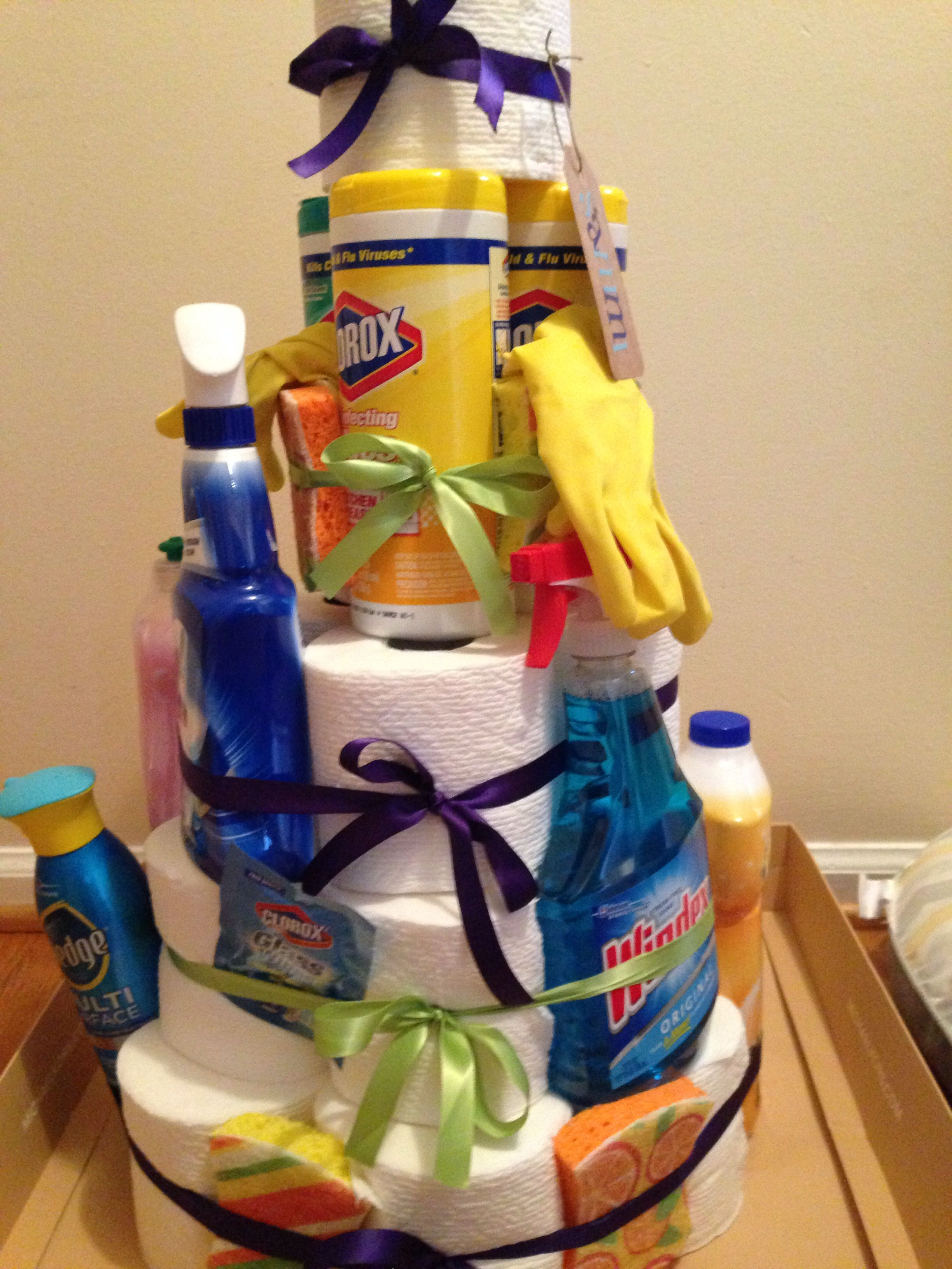 Toilet Paper Cake Filled With Cleaning Supplies For My Cousin S New House Present House Gifts House Warming Gift Diy House Warming Gifts