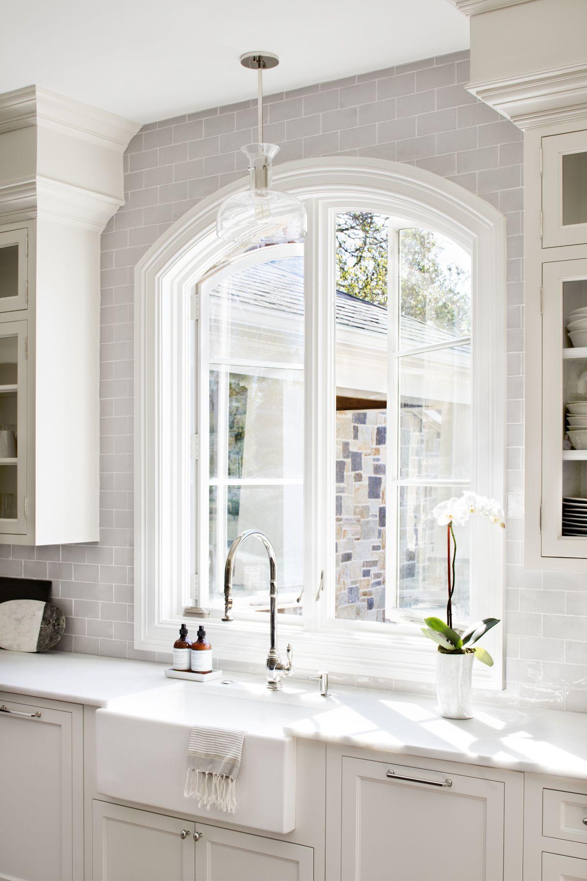 Stephanie Interiors Custom Kitchen White Cabinets Polished Nickel Hardware