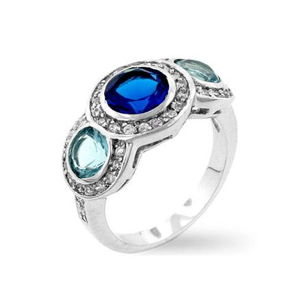 Daphne's Antique Style Sapphire & Aqua Three Stone Ring - Only $32.95 — Fantasy Jewelry Box