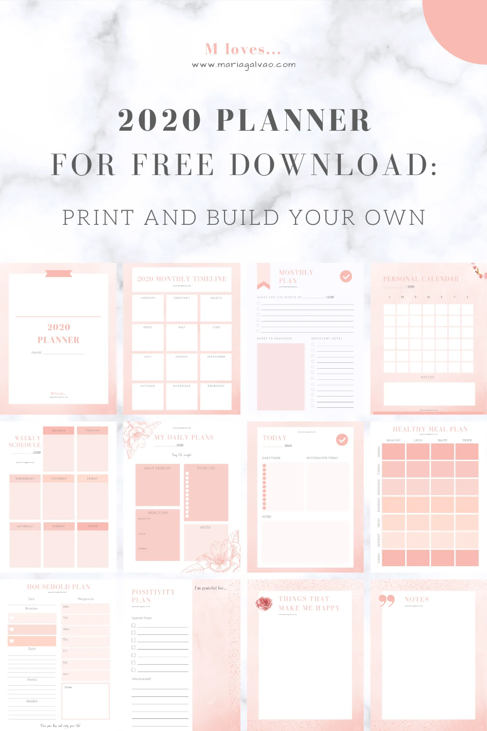 2020 Planner For Free Download Print And Build Your Own M Loves Home Weekly Planner Free Study Planner Printable Planner Printables Free
