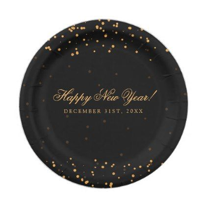 Party Gold Confetti Dots Paper Plate  sc 1 st  Pinterest & Happy New Year!