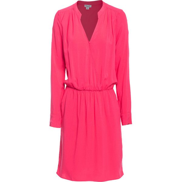 SPLENDID Voile Cross Front Pink // Loose-fitting rayon dress (900 NOK) ❤ liked on Polyvore