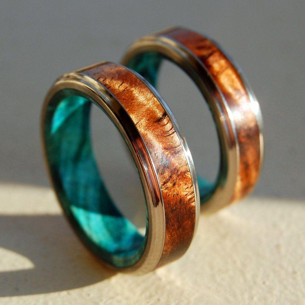 Hawaiian Koa Wood And Light Blue Box Elder Handcrafted Titanium Wedd White Gold Sapphire Engagement Rings Rose Gold Wedding Band Diamond Rose Engagement Ring