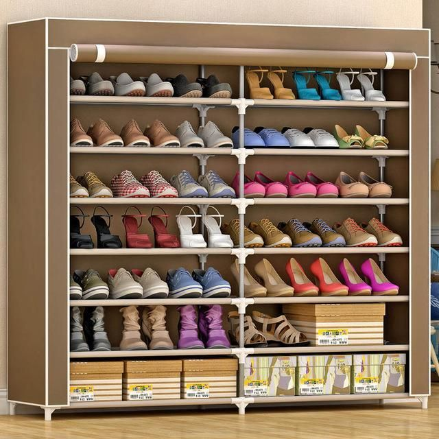 7layer14grid Nonwoven Fabrics Large Shoe Rack Organizer Removable