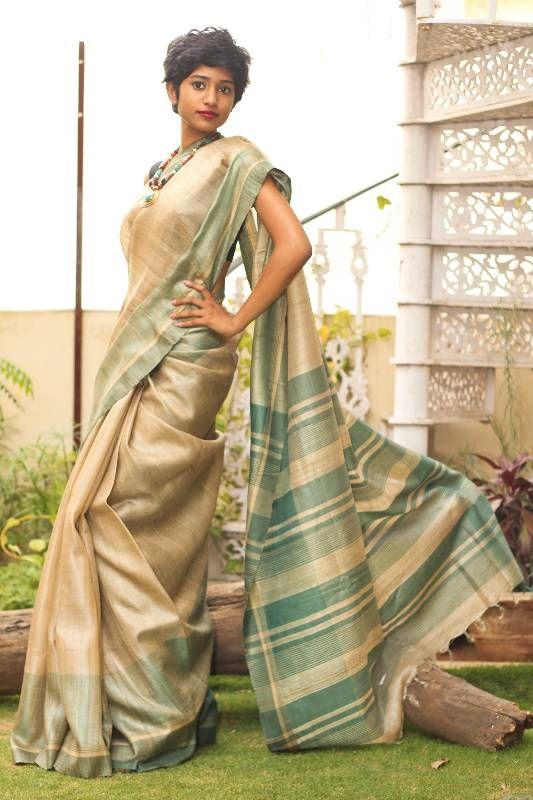 Digital Print Tussar Ghicha Saree Pure Handloom Saree for Festival wedding Women Clothing Indian Sari Gifts Handloom Ghicha Made in india