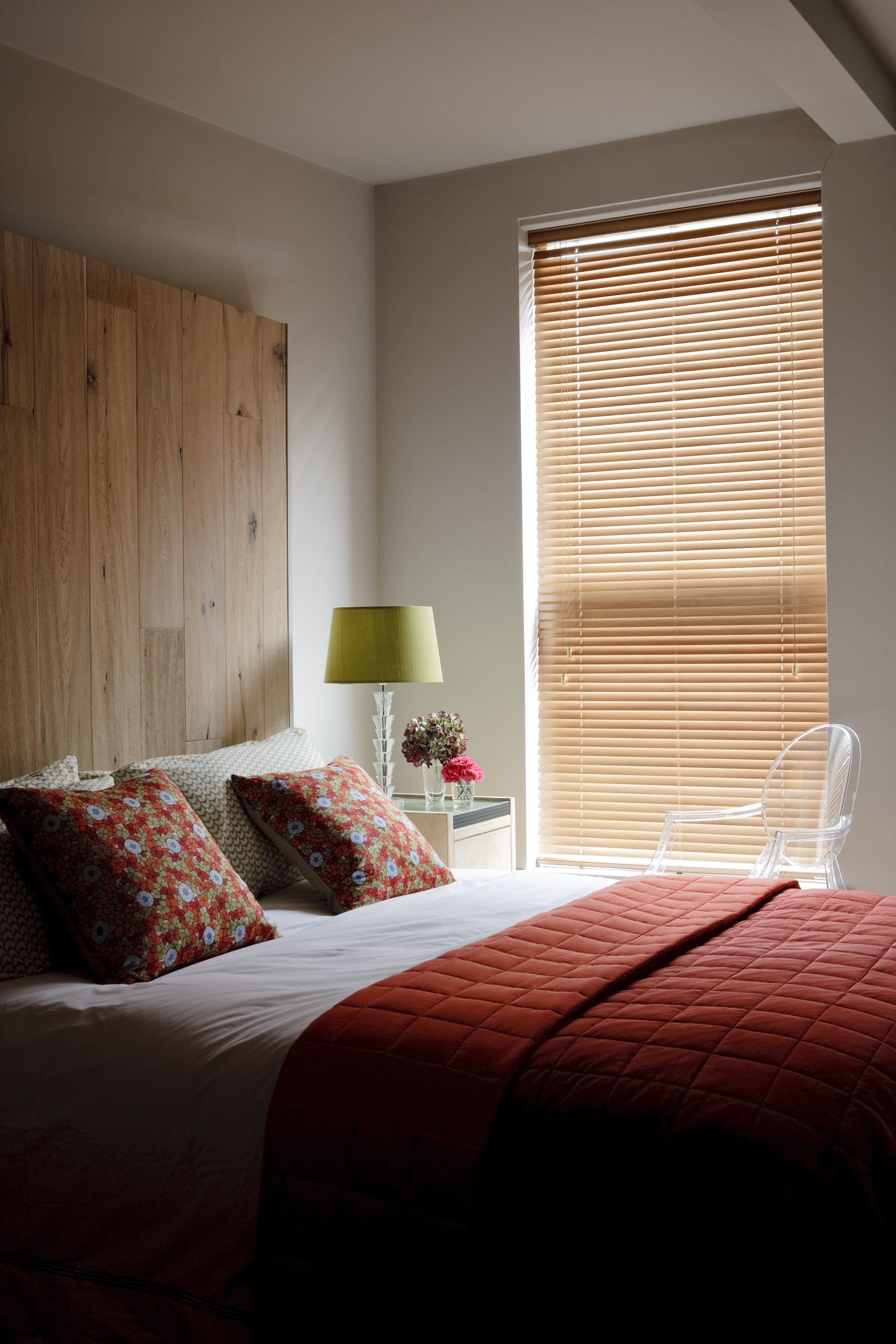 Bed covering window  clover and thorne wooden window venetian blinds  clover u thorne