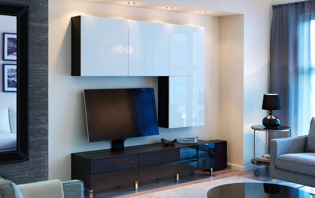 combinazione bestÅ/uppleva marrone-nero con mobile tv con frontali ... - Soggiorno Bianco E Nero Ikea