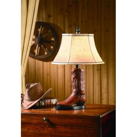 Western Boot Table Lamp Linen Shade Cowboy Country Design Lighting Lamp Crestview Collection Boots