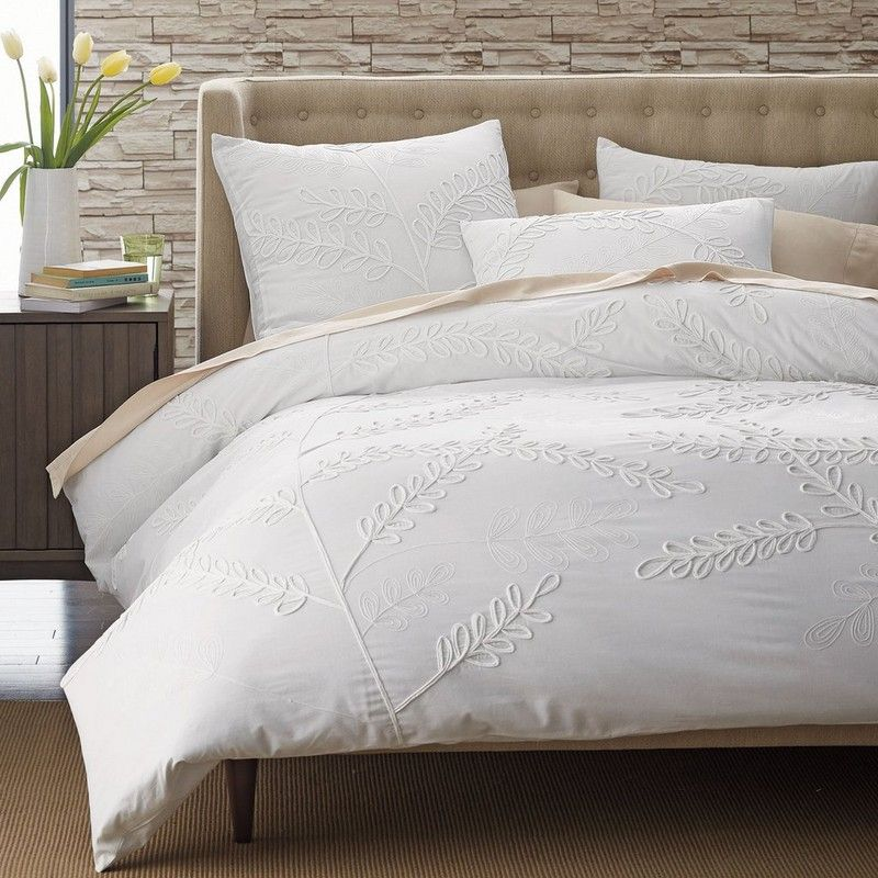 Embroidered Leaf Duvet Cover Sham Matching Bedding And Curtains Bed Linen Sets Duvet Covers