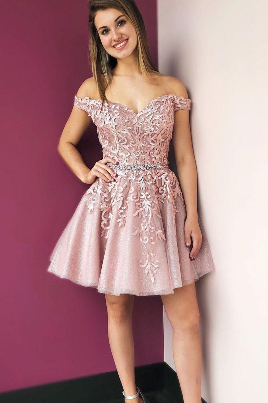 Off the shoulder blush pink short party dress tulle
