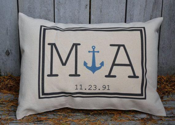 Anniversary Gift, Anchor Pillow, Wedding Gift, Cotton