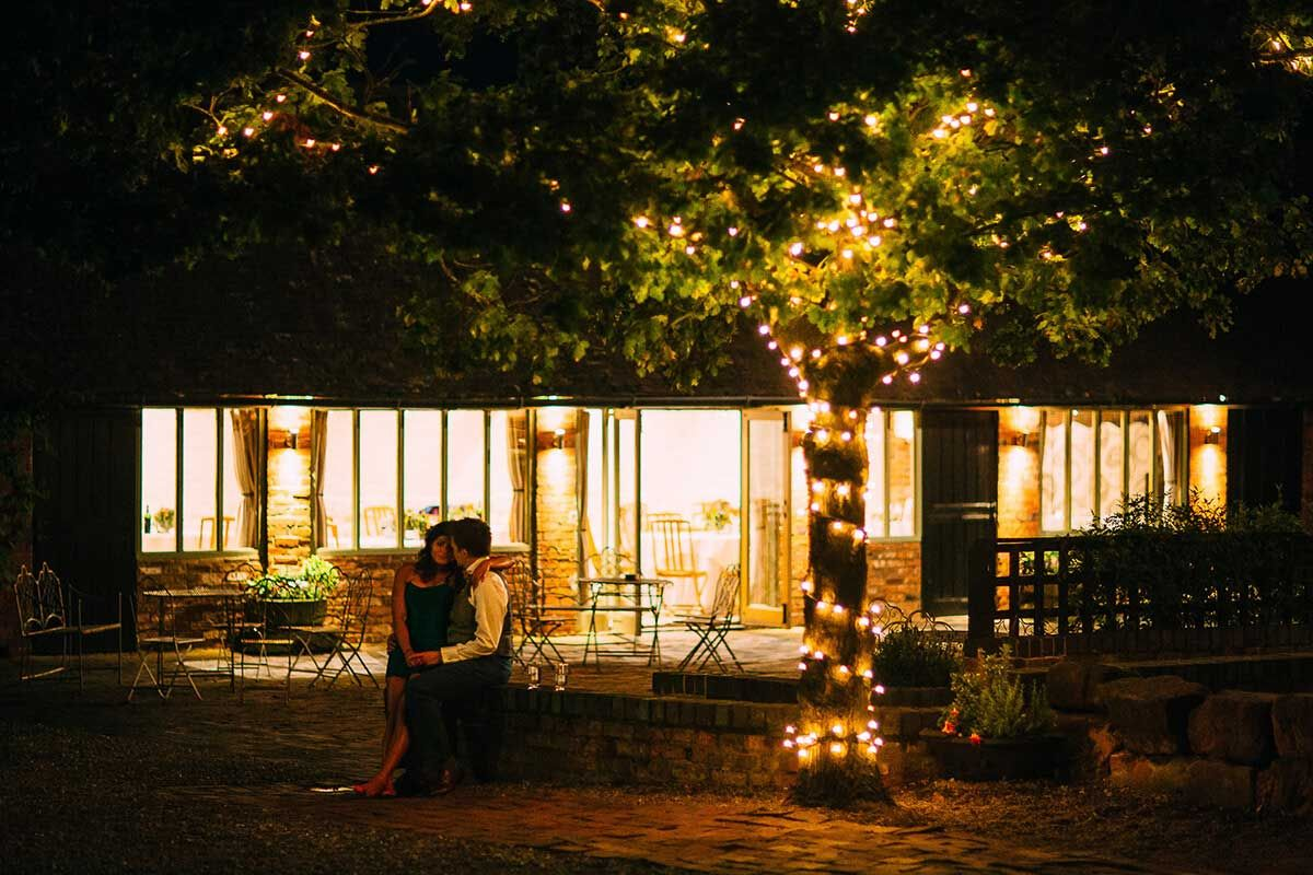 Barn wedding with fairy lights  Wedding Gallery Worcestershire  Barn Wedding venues and Magical