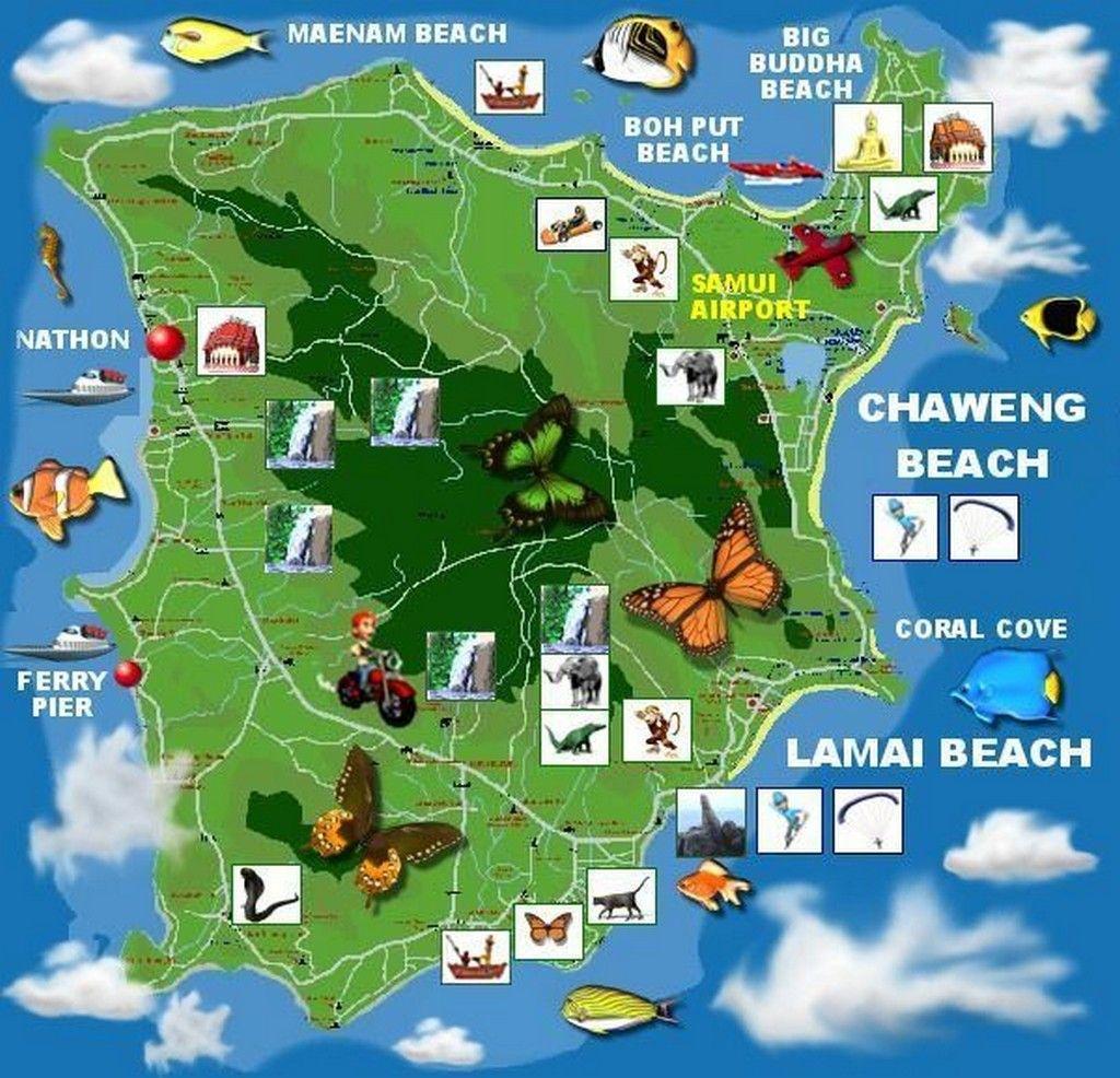 Koh Samui map AMAZING THAILAND Pinterest Koh samui
