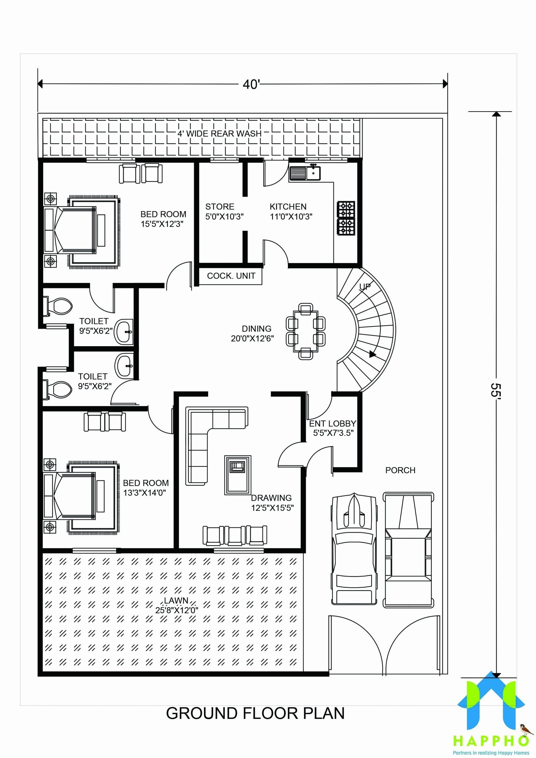 40 X 40 House Plans Inspirational Floor Plan For 40 X 55 Feet Plot House Plans One Story Open Floor House Plans 2200 Sq Ft House Plans