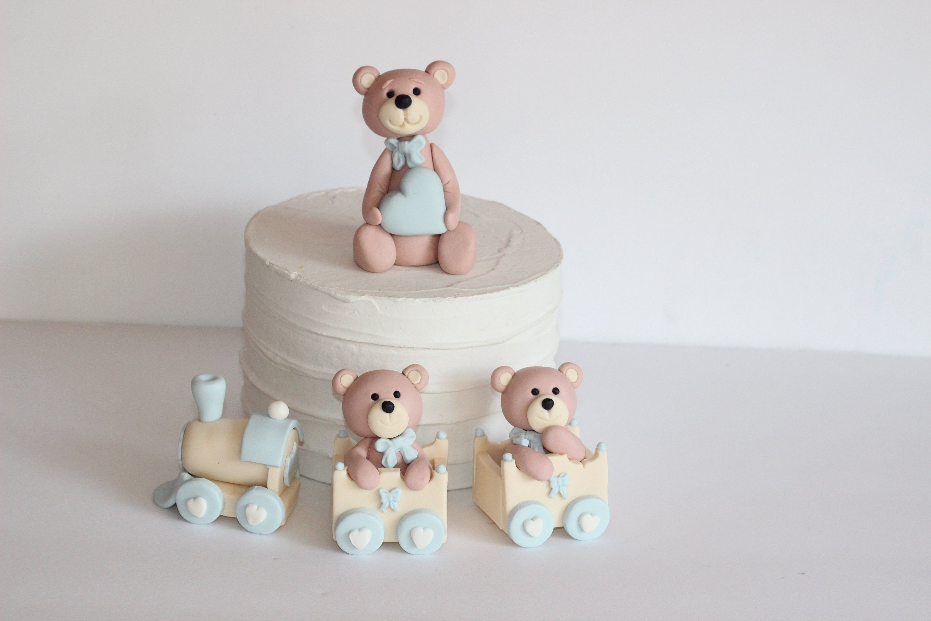 Fondant Teddy Bears Baby Shower Cake Topper Welcome Baby First Birthday