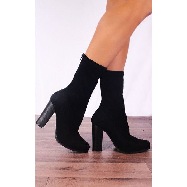 ed9e960ee Shoe Closet Black Stretch Sock Pull on Ankle High Heels Boots (320 SEK) ❤