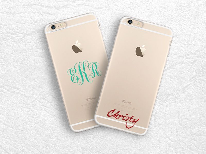 new style 36ecf e45f5 iPhone 7, iPhone 6s plus transparent soft case monogram personalized ...