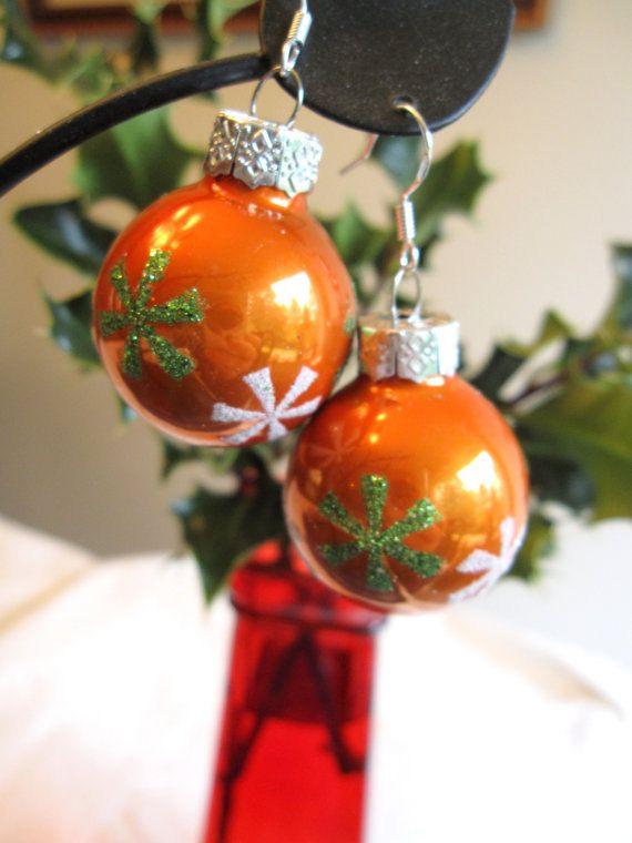 Christmas Earrings, Orange Christmas Bulb Earrings: Christmas Snowflakes by SmithNJewels on Etsy