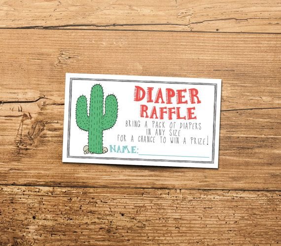 Cactus Diaper Raffle Ticket Insert Fiesta By INVITEDbyAudriana Baby Shower Bingo Activities