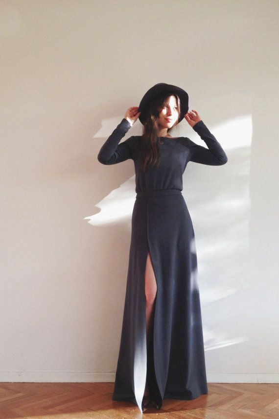 Hey, I found this really awesome Etsy listing at https://www.etsy.com/listing/208765889/maxi-dark-grey-dress-with-slit