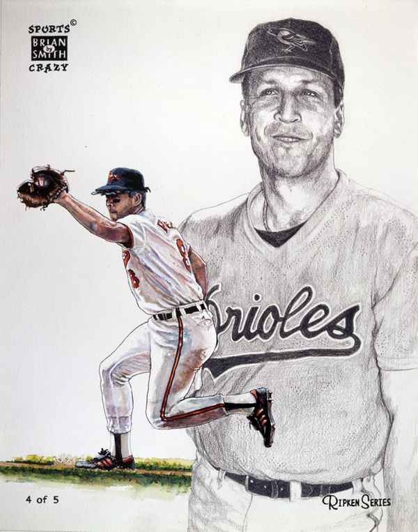 Illustrations By Brian Smith Via Behance Cal Ripken 4 Of 5 Baseball Pitching Illustration Softball Pitching Machine