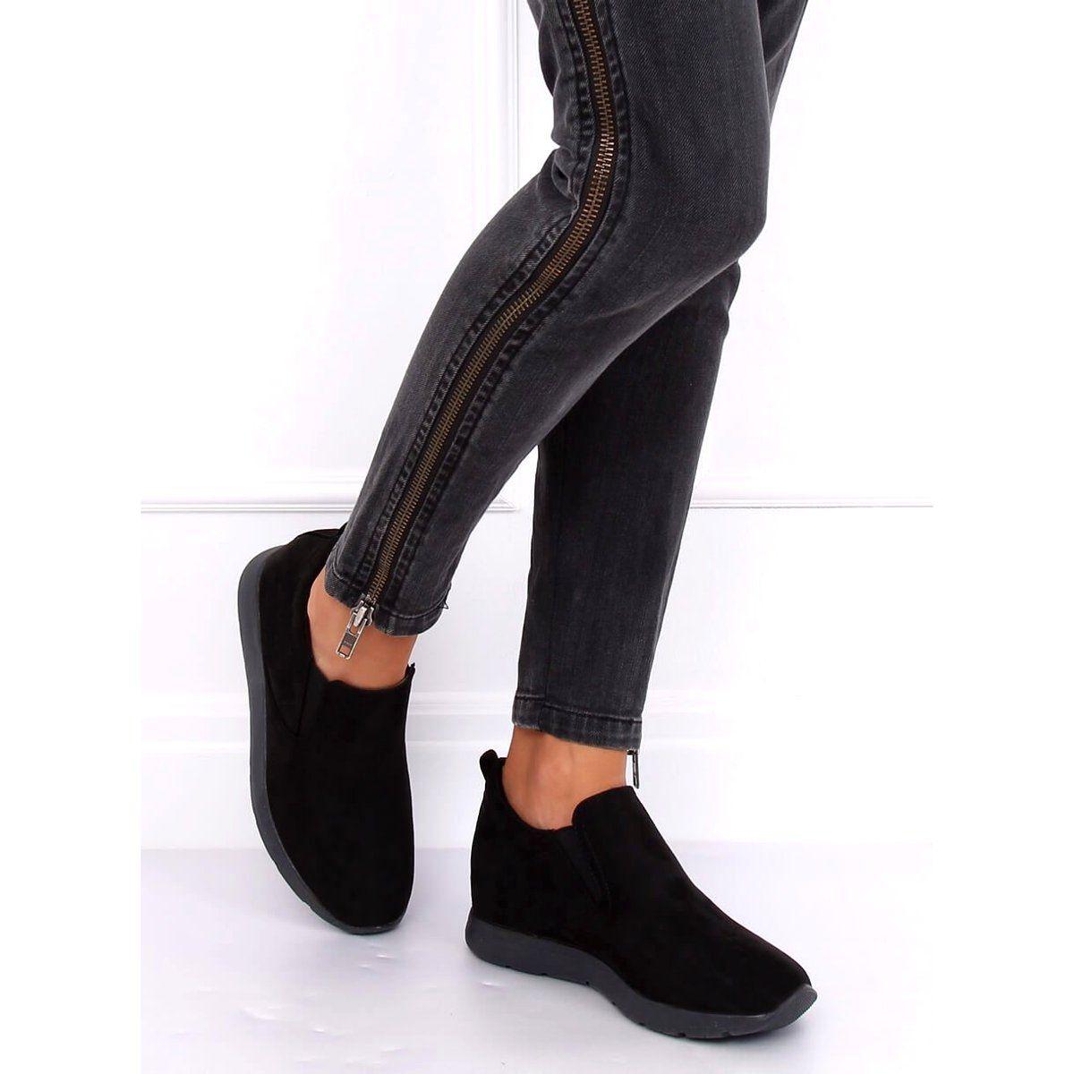 Polbuty Na Ukrytym Koturnie Czarne Zy 7k67 Black Fashion Black Jeans Black