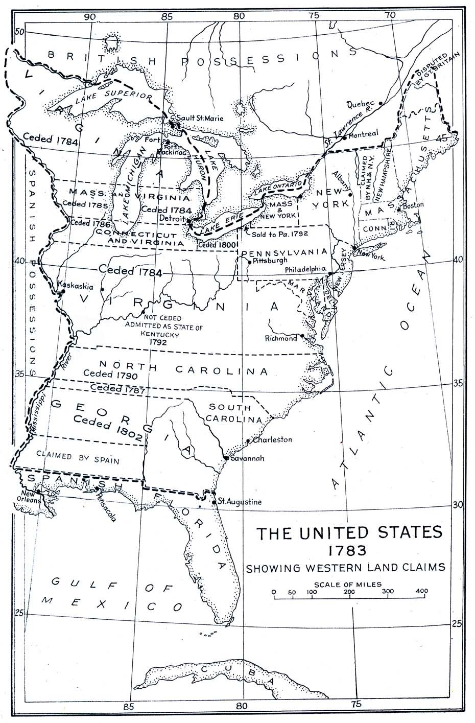 United States Map 1783 Looking Back at History MapsTimelines