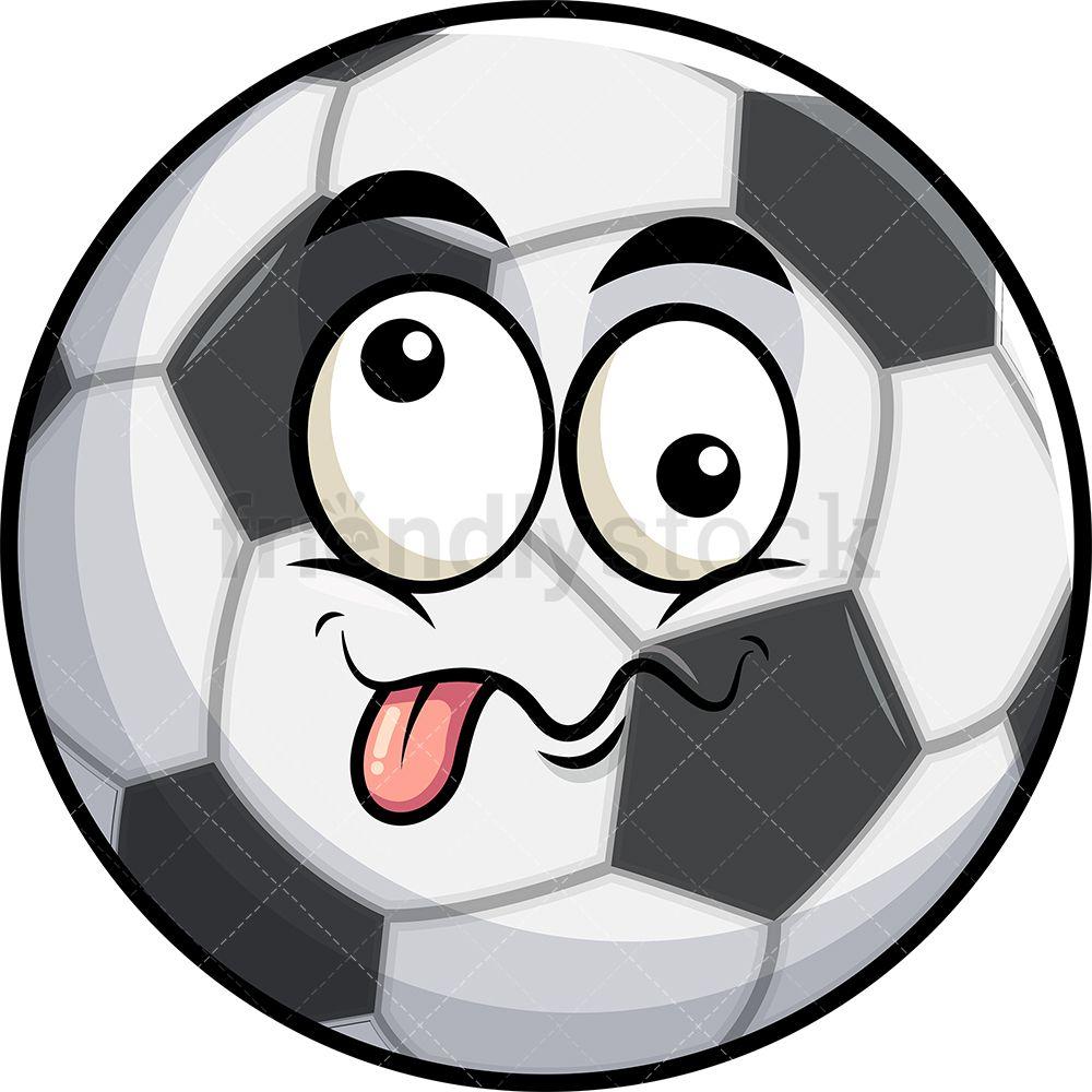 Goofy Crazy Eyes Soccer Ball Emoji Cartoon Clipart Vector Friendlystock In 2020 Soccer Ball Emoji Cartoon Clip Art