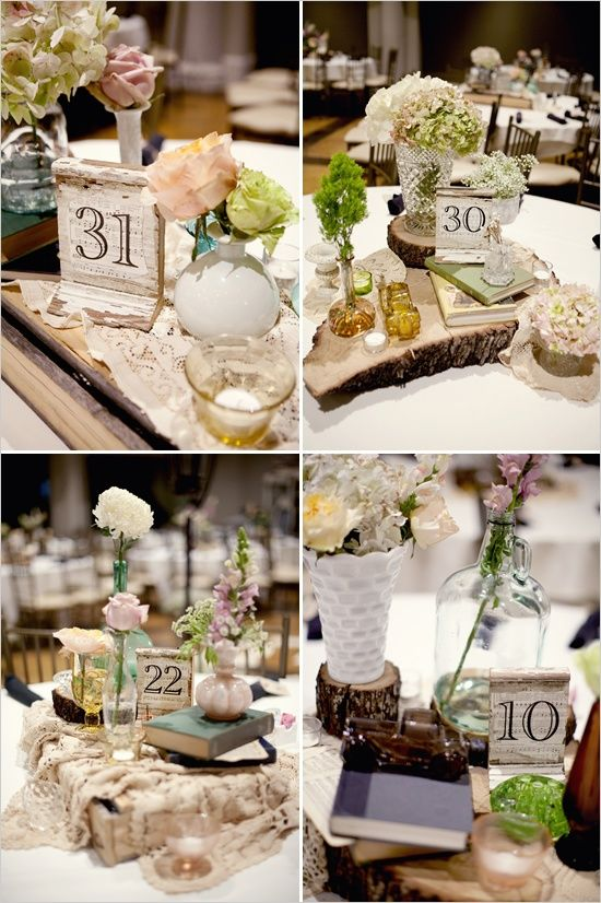 shabby chic wedding decor - like the wood slabs with different types ...
