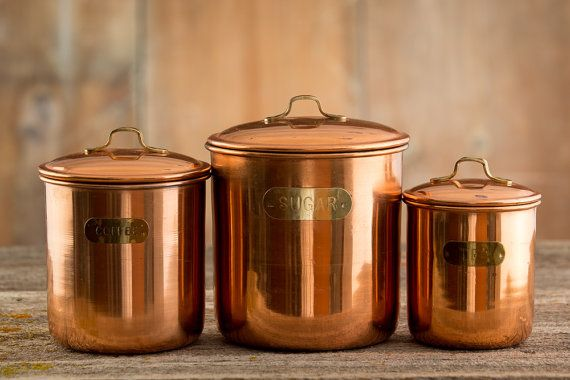 3 Vintage Copper Kitchen Canisters    Coffee, Tea, And Sugar
