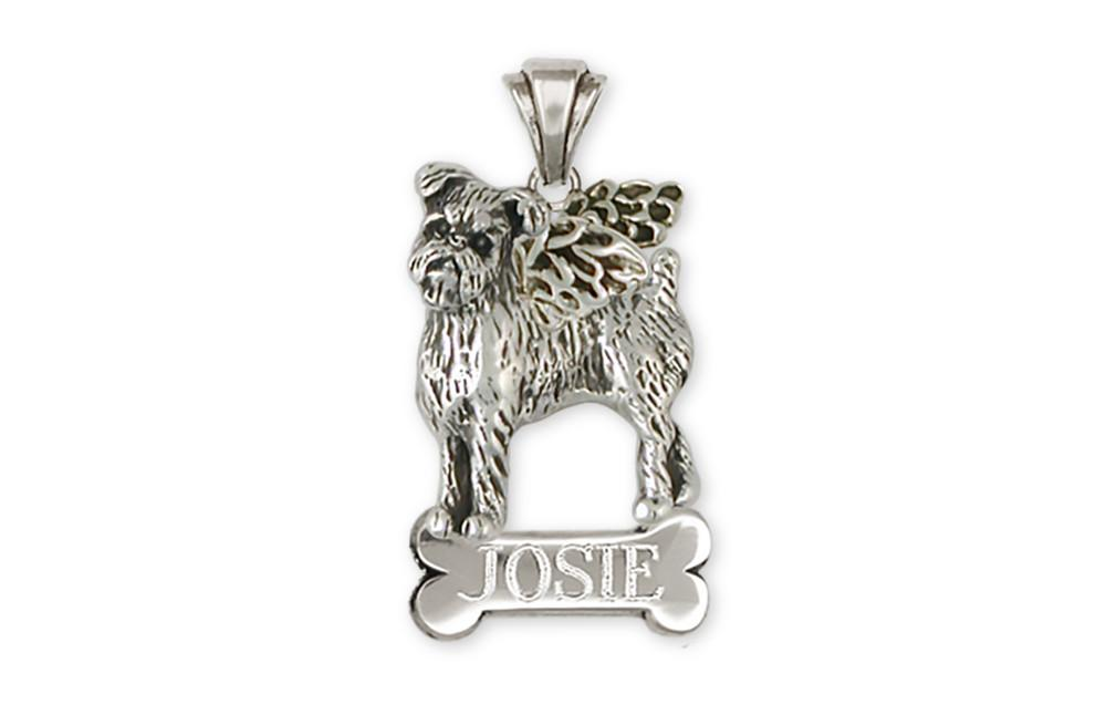 Brussels Griffon Angel Personalized Pendant Handmade Sterling Silver Dog Jewelry GR38-ANP