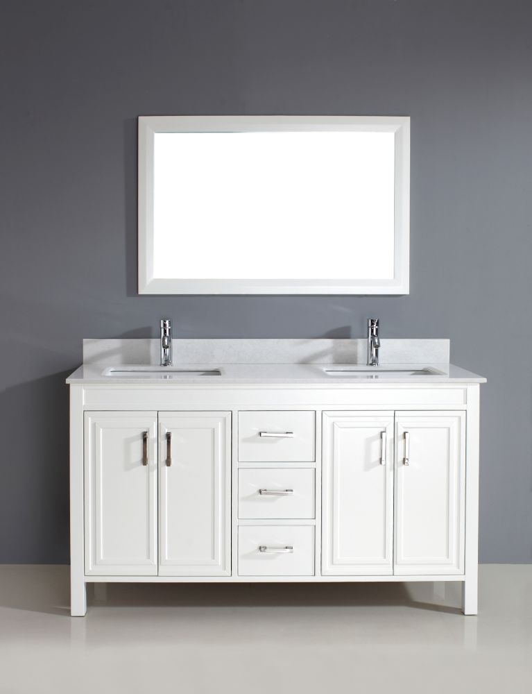Corniche 60 Inch W 3 Drawer 4 Door Vanity In White With Artificial