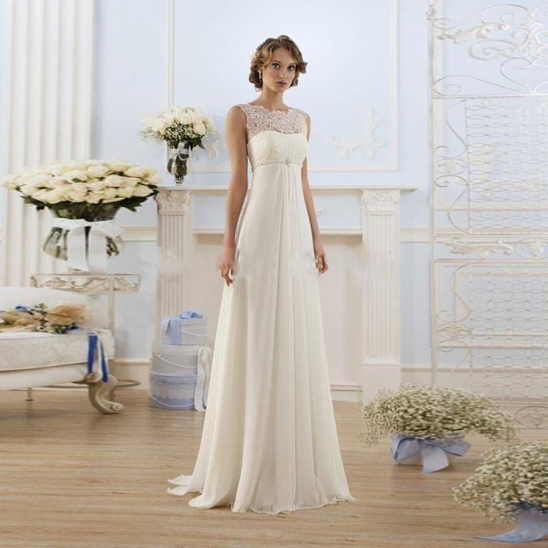 New Arrival Lace Chiffon Wedding Dress Beach Dress Floor