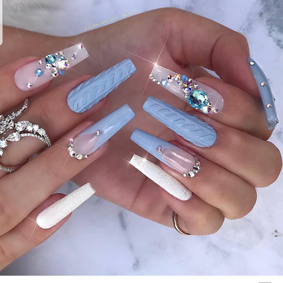 Pin by InspiringHomesByMinna on Bomb Nails | Blue nail ...