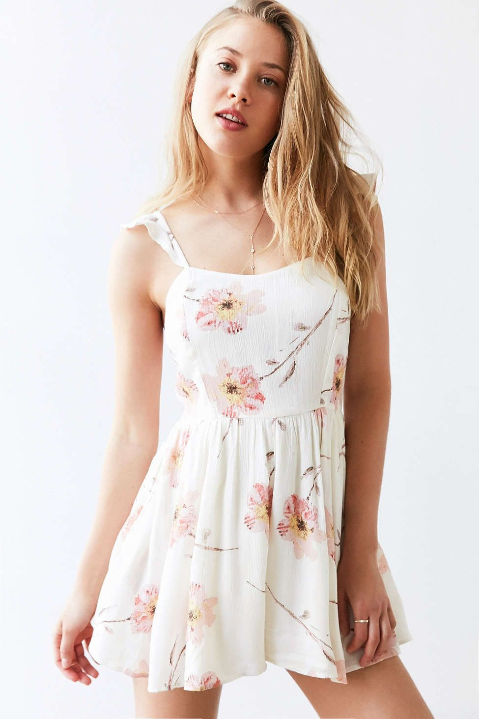fee5d27f4a1 Kimchi Blue Petunia Gauze Flutter-Sleeve Romper from Urban Outfitters