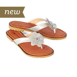 Floral Metallic Silver Flip Flops. Size 8. Vegan Leather. Laser Cut Silver Flower. Tan Sole. Each pair holds 2 18mm Original Snaps. For every pair sold, a pair of shoes will be donated to someone in need through our partnership with Soles4Souls. S1325--$32.99 Join my facebook group at https://www.facebook.com/groups/staceysmvips