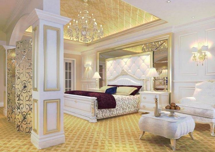 Gold And White Bedroom Ideas With Beautiful Bedroom Chandeliers