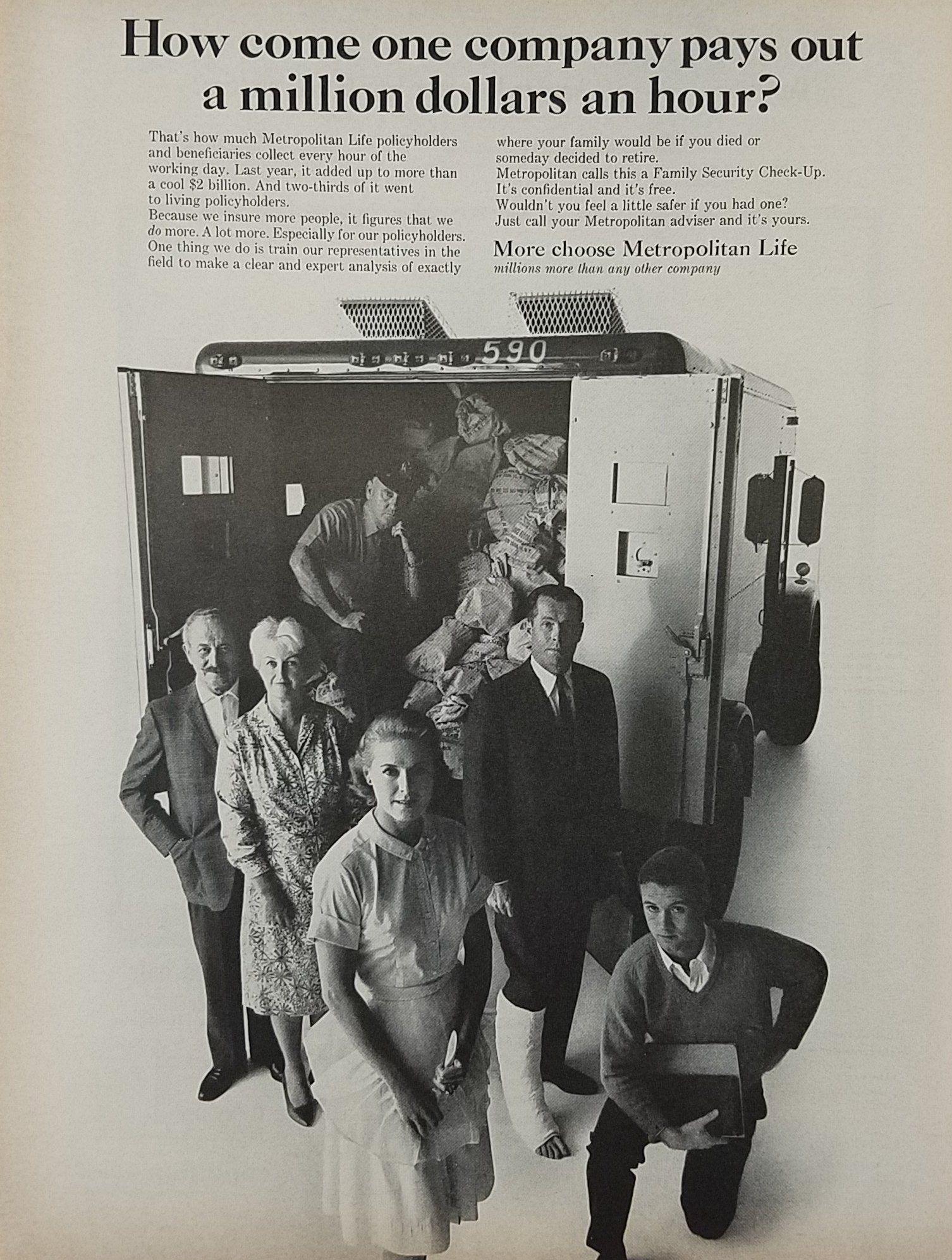 1964 Metropolitan Life Insurance Vintage Ad Pays Out 1 Million