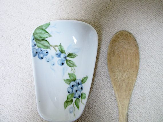 Porcelain Spoon Rest Blueberry Kitchen Decor By PorcelainChinaArt