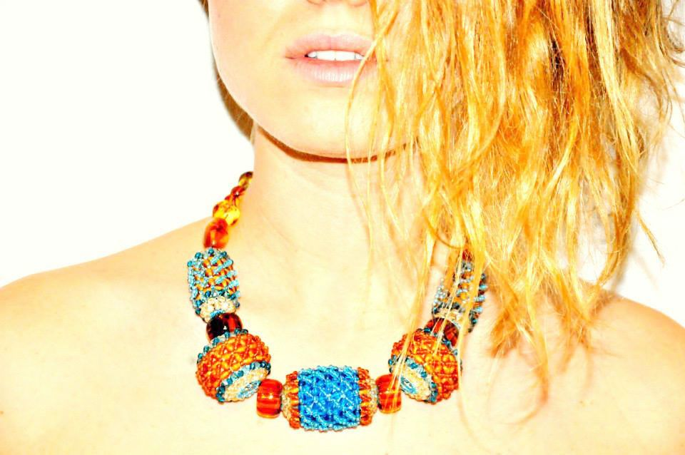 brown and azure necklace