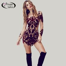 5f8c04bcca6 So Beautiful Sheer Mesh Royal Blue Printed Velvet Formal Club Dresses for  Women Sexy Bodycon Party Night Mini Dress Plus Size(China (Mainland))