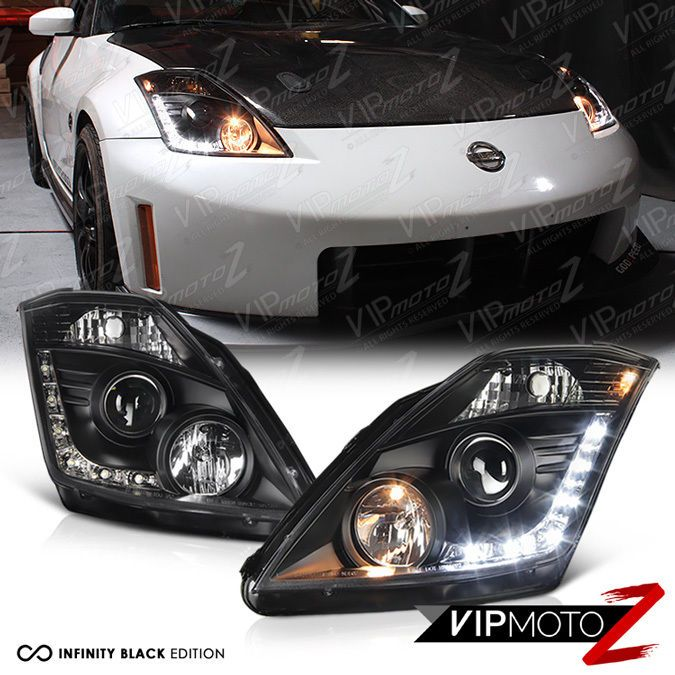 Fit Nissan 03-05 350Z Black Housing Replacement Headlights HID Models Only