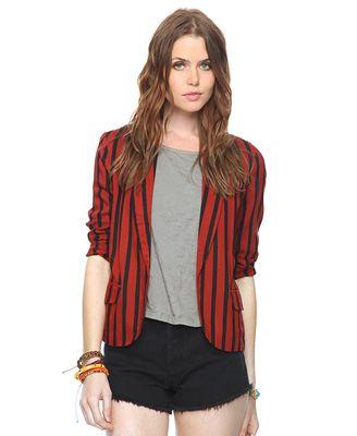Striped Shawl Collar Blazer | FOREVER21 - 2000040828