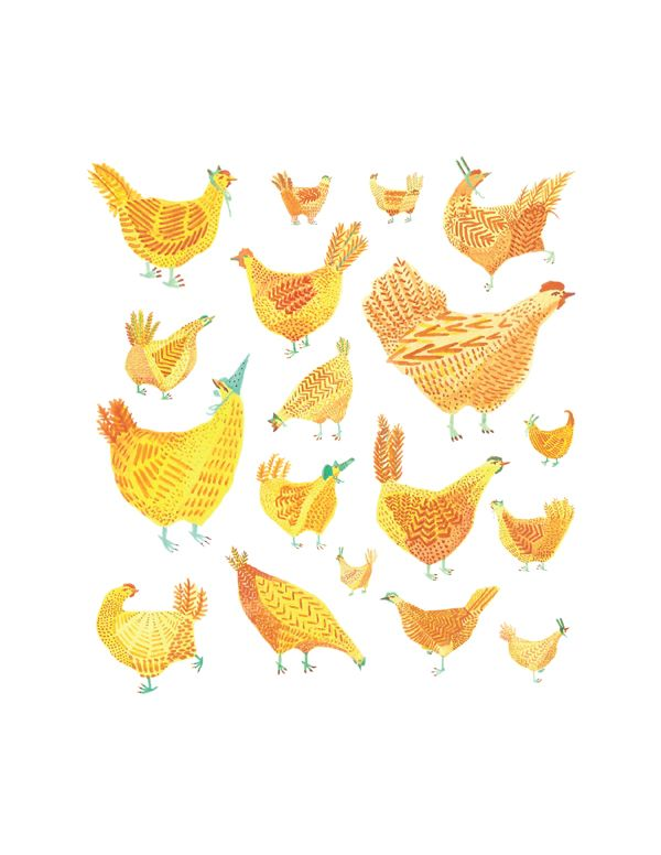 Chicken Party | Illustration print by miroosa | secret lives of chickens | watercolor and gouache studies of color pattern and shape decorative folk art inspired | something fun and whimsical