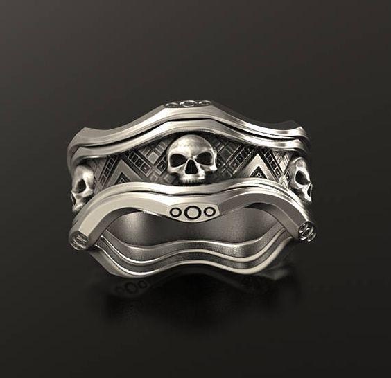 Skull wedding ring silver skull ring mens skull ring biker ring