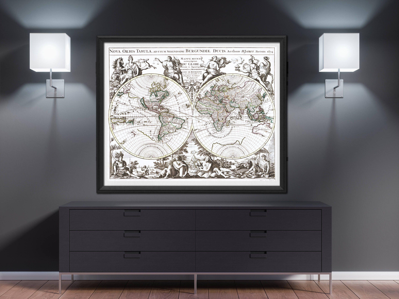 World Map Print World Map Poster World Map Wall Art Large World - Old world map wall art in blue