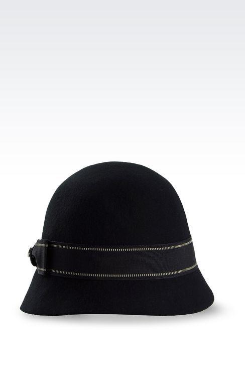 Armani Collezioni Women Hat - FELT CLOCHE HAT WITH GROSGRAIN BOW Armani Collezioni Official Online Store
