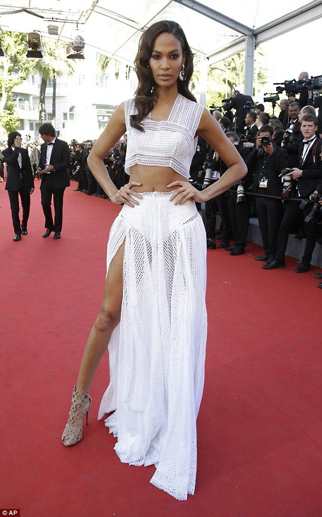 Matching Kendall's look? Model Joan Smalls worked a two-piece look in a similar mesh fabri...