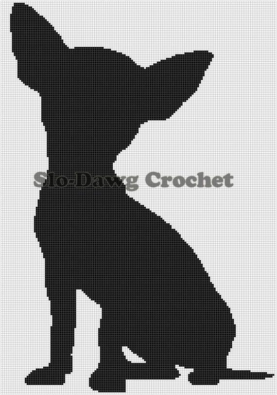 Chihuahua Silhouette Sitting crochet graph by SloDawgCrochet, $5.00 ...