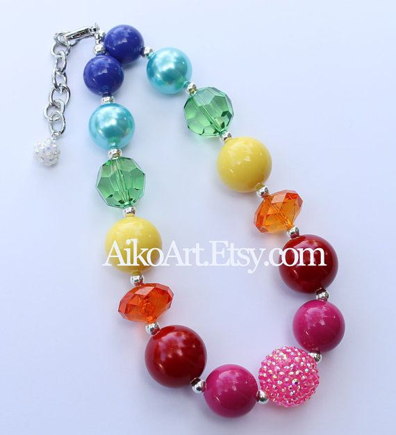 Rainbow Pink Bottom Chunky Necklace for girls by AikoArt on Etsy, $20.00